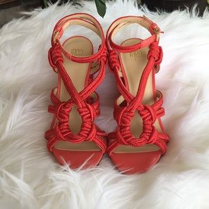 Cabi: Red Tiptoe Chunky Heel sandals Size 7